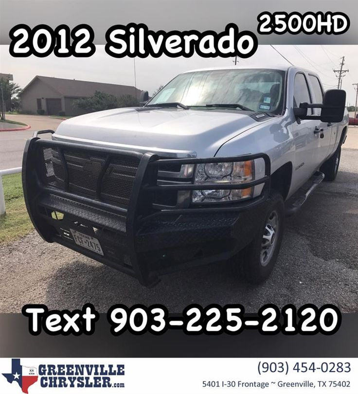 2012 Chevy Silverado 2500 HD crew cab with 114,000 miles!!! Just in!!! Call or text 903-225-2120 for Special Facebook price!!! Stock Number 17G1023A. #CarsForSale #OpenSaturdays #CashCars #FreeQuote #RockwallTexas #RoyseCity #FateTexas #GreenvilleTexas #QuinlanTexas #greenvillechrysler #Chevrolet #TexasTrucks www.greenvillechrysler.com  https://deliverymaxx.com/DealerReviews.aspx?DealerCode=J122  #Carsales #greenvilleTexas #GreenvilleChryslerJeepDodgeRam