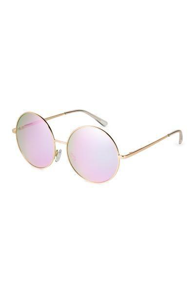 Lunettes de soleil: Grosses lunettes de soleil rondes avec monture en métal et verres teintés. Portection UV.