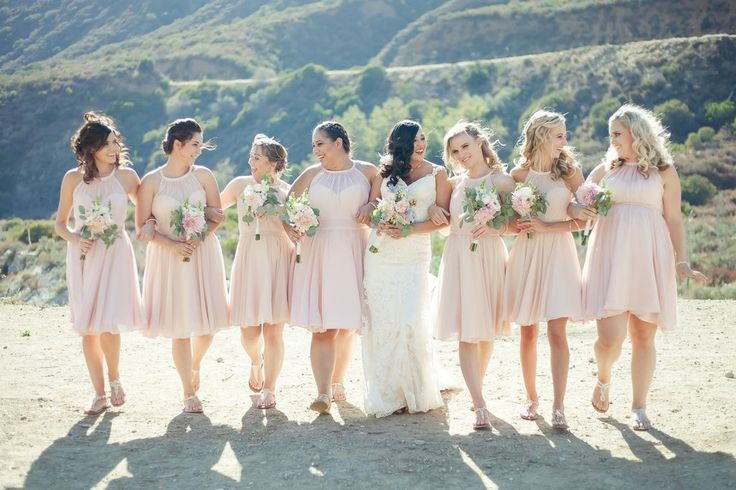 Short high neck chiffon bridesmaid dresses in blush pink | 11 Pin-Worthy Bridal Parties | Janelle Marina Photography | Kennedy Blue