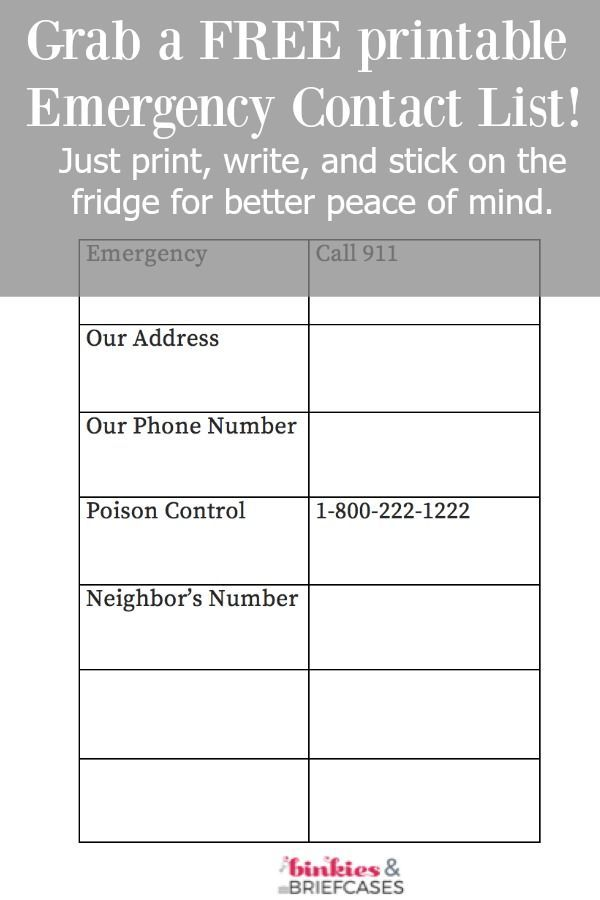 Free emergency contact list printable |sponsored| |KnowYourOTCs|