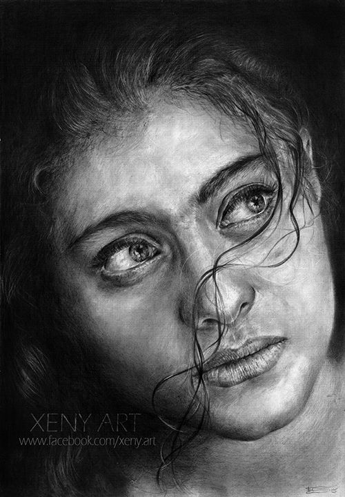 • My new pencil drawing •  Media used: Pencils Koh-i-Noor HB, 2B-8B. Graphite powder. Kneaded eraser • Size: A3 • Time: 35 hours in 3 weeks • Model: Kajol Devgan ( Bollywood actress) for all Kajol...
