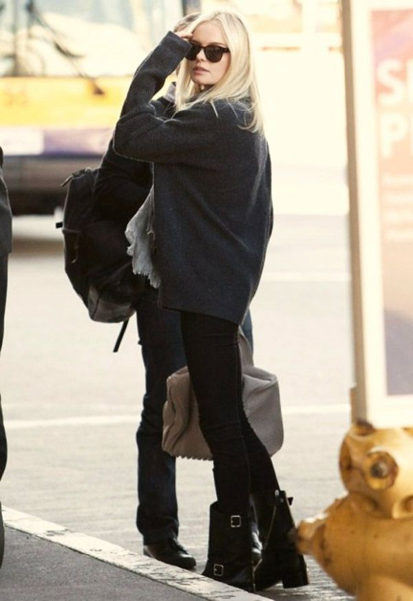 kate bosworth // chunky grey knit // black skinnies // black motorcycle boots