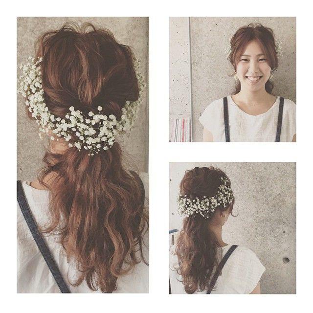 * * かすみ草アレンジ♡ 耳上からたっぷり かすみ草をあしらって あります♡ ウェディングヘアに オススメです♡ #ヘアアレンジ #コーデ #ウェディング #wedding