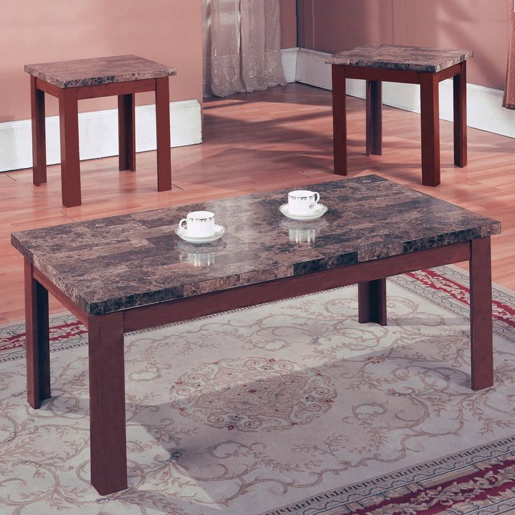 Home Source Industries Marble Coffee Table Set - H-2876