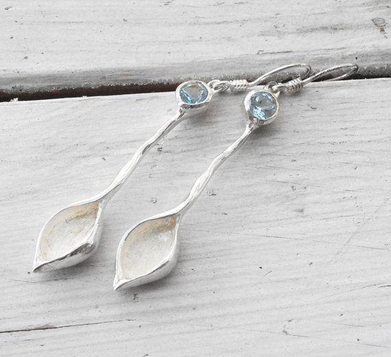 Sky Blue Topaz Earrings, Sterling Silver Leaf Shape Earrings,  Bridal Jewelry, December Birthstone, Aqua Blue Topaz Jewelry, Springtime 2013
