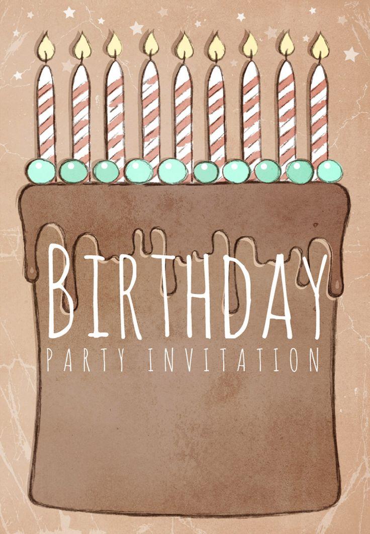 #Birthday Party #Invitation Free Printable Birthday Cake