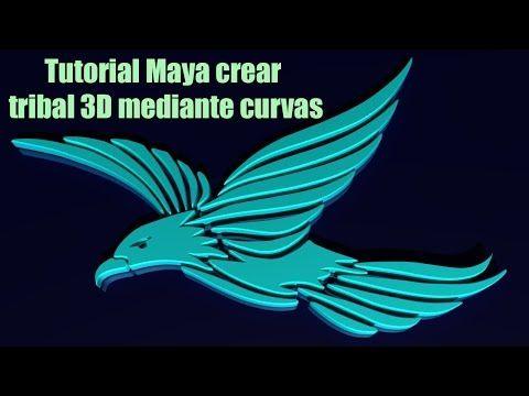 Tutorial Maya crear tribal 3D, logo mediante curvas - YouTube