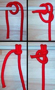Nó de âncora - O nó de âncora é utilizado para prender firmemente uma âncora, com cabos molhados e escorregadios, permitindo que permaneça atado mesmo com o movimento da água e solavancos – Wikipédia, a enciclopédia livre