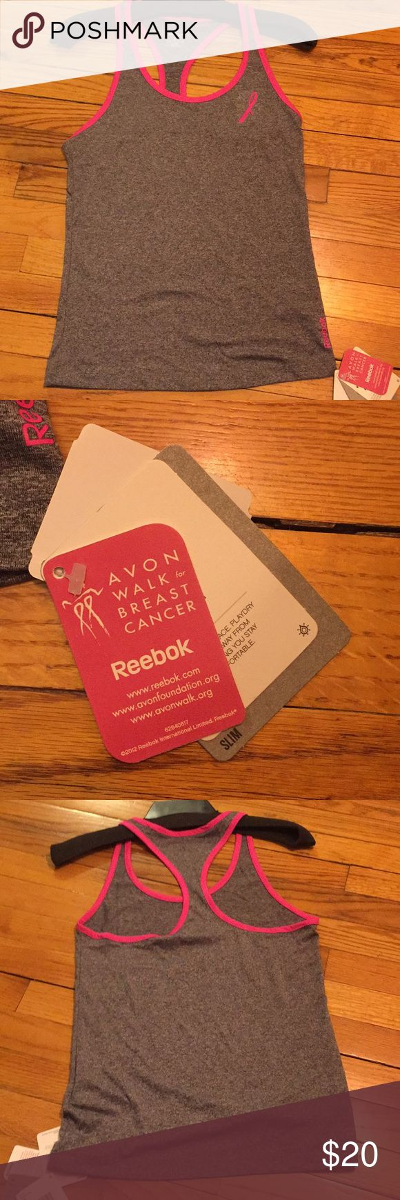Reebok Avon Breast Cancer Walk Tank. Size XS- Grey NWT Grey Avon Walk for Breast Cancer Tank. Light and breathable with slim fit. Perfect for running, walking or any workout. Reebok Tops Tank Tops