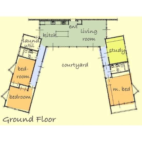 Image result for contemporary single levelL-shaped home designs