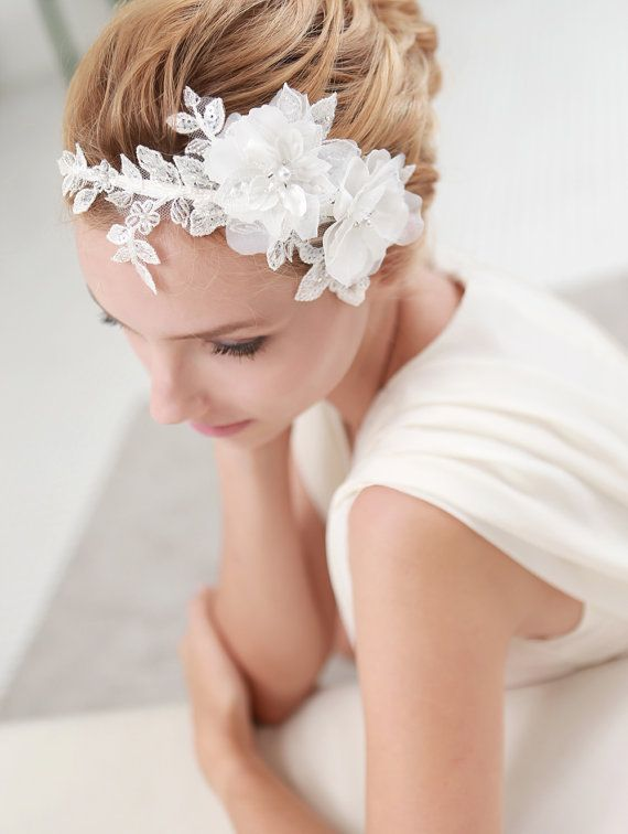 STYLE - #203 CODE:HDB007 Double flower headband.  Double satin flower headband features romantic satin flowers on hand-beaded floral lace.  The mix of different fabrication create unique texture and shape To order yours, contact us on loca@localoca.co.za www.localoca.co.za