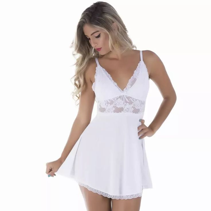 lingerie branca camisola noiva lua de mel - pronta entrega