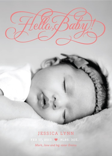 """Hello Baby"" birth announcement, designed by The Occasional Hello for MyPublisher's 2013 exclusive baby card and stationery collection."