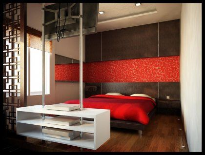 Inspiring Red Themed Bedroom Design Ideas : Red And White Bedroom With Dark  Wooden Wall Panels And Red Banner With A Graphic White