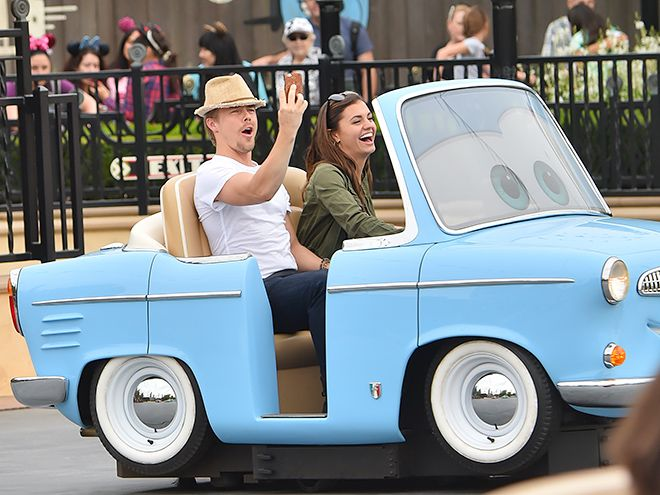 Star Tracks:Monday, April 11, 2016 | COOL RIDE | It's a date! Derek Hough and girlfriend Hayley Erbert take on Disneyland, riding on the new Luigi's Rockin' roadsters ride on Thursday.