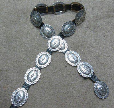Navajo Dead Pawn Sterling Silver Concho Belt