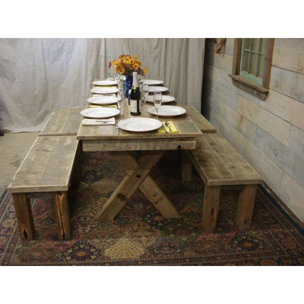 Driftwood Trestle Table (84 X 30 X 30 or 36'H) ($1,569) ❤ liked on Polyvore featuring home, furniture, tables, dining tables, dining room furniture, home & living, kitchen & dining tables, white, drift wood table and white kitchen table
