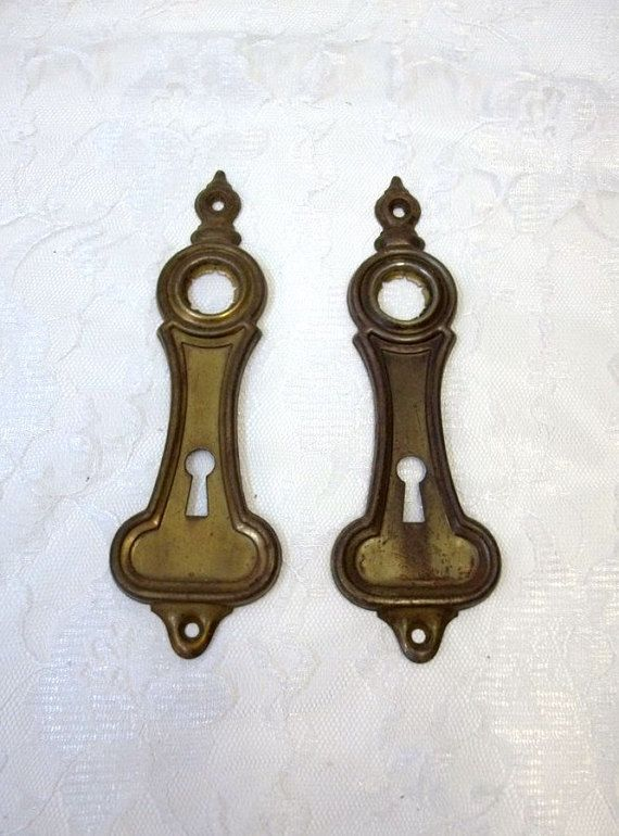 Vintage Antique 1940s French Escutcheon Key Hole Keyhole Cover Brass One piece Large