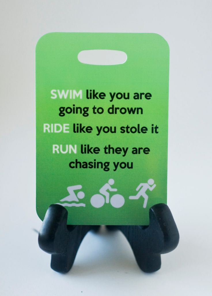 Triathlon Bag Tag! makes a great gift! These tags are made from reinforced plastic, with the image imprinted on it. The colors are vibrant and the finish is a high gloss. Excellent for gear bags or lu