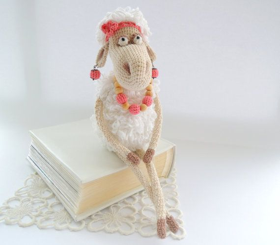 Crochet art doll Mrs. Sheep Cute stuffed animals Soft toy for baby Holiday gift child Chinese new year symbol 2015 Valentine's Day gift idea