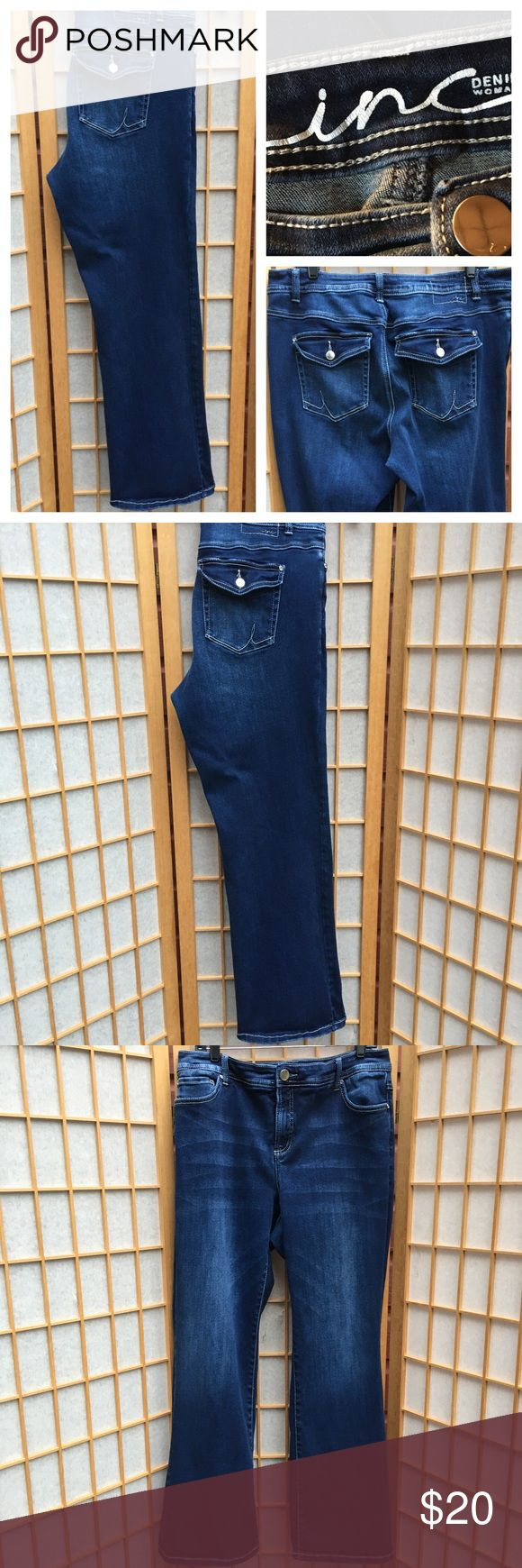 "INC Boot Cut Jeans SZ 16W Boot leg slim tech fit....back flap buttoned pockets...nice stretch....approximate measurements...waist 17 1/2"".....inseam 31 1/2""....front rise 11"".... leg opening 10""....SZ 16W INC Jeans Jeans Boot Cut"
