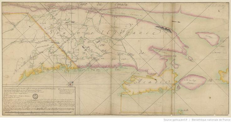 Partie du Canada ou nouvelle France et de la Nouvelle Angleterre, de l'Acadie dressée par le P. Aubry jésuite depuis le traité de la paix d'Utrecht (du 22 avril 1713) dessinée par le Sr de Morville sous ingénieur en novembre 1713
