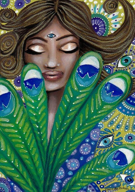 "Saatchi Online Artist: Cherie Roe Dirksen; Paint, 2013, Mixed Media ""The Peacock Nymph"" $100"