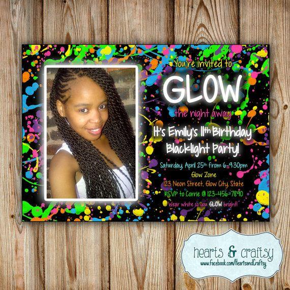 Glow In The Dark Party Invitation / Neon Birthday Invitation / Blacklight Party Invitation / Glow Party Invite  by HeartsandCraftsy