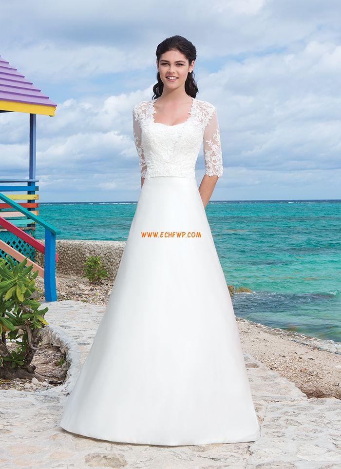 Chapel Släp Brudklänningar med Bolero Halv ärm Billiga Bröllopsklänningar