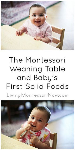 Lots of resources about the Montessori weaning table,which is typically used for ages 6 months - 2 yearsBaby Table Food, First Solid Foods, Baby Montessori, 6 Month Baby Food, Baby'S 8217, Solid Food For Baby, First Table Foods For Baby, Montessori Weaning, Weaning Tables
