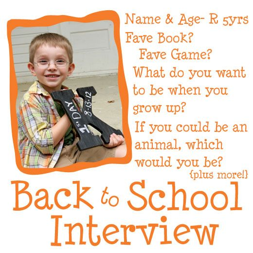 Back to School Interview- With 30 sample questions! Now this will be an awesome annual tradition, whether it happen on a birthday or the first day of school.