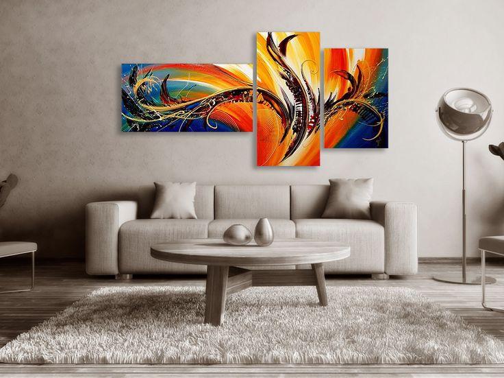 Abstrakt Oljemålning #Robina #Handmålad #modern abstrakt tavla, som passar till varje modernt hem och kontor. En handmålad #tavla ger alltid ett mer uttrycksfull intryck. #Gul-röda-orange-blå nyanser.