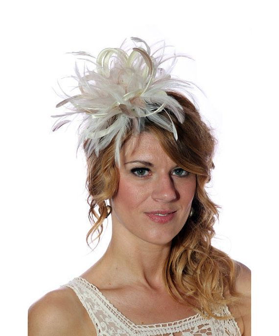 Cream and Taupe Nude Feather Fascinator Hat  by MaighreadStuart