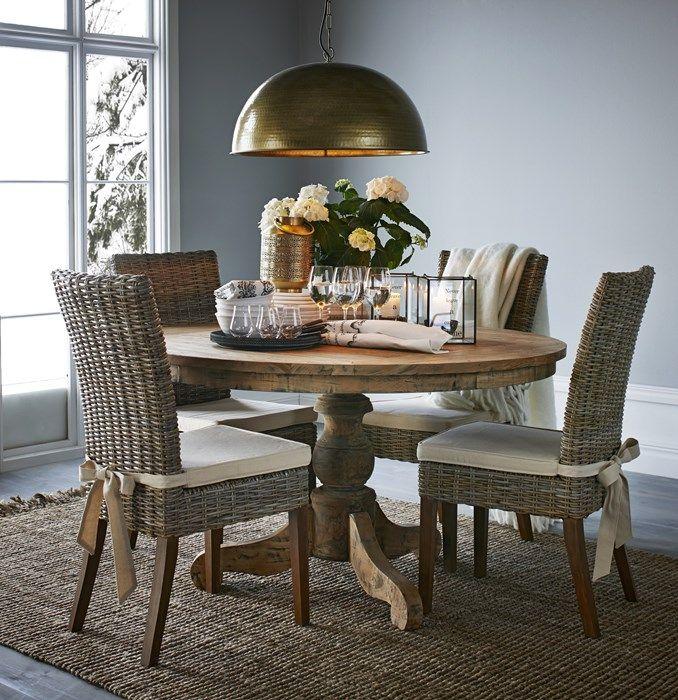 """round rustic kitchen table, """"Woodstock"""" Mio möbler, massiv teak, h78 diam 135cm, 7.695kr"""