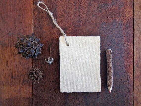 Cream and Hemp notepad Handmade Recycled paper by marigoldmountain