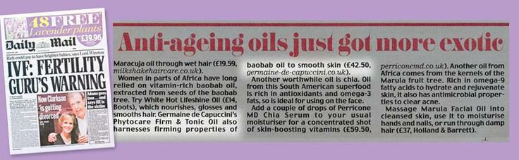 Daily Mail feature on our Phytocare Firm and Tonic Oil - A stunning Body Oil to help firm and tone the silhouette – smells gorgeous too!