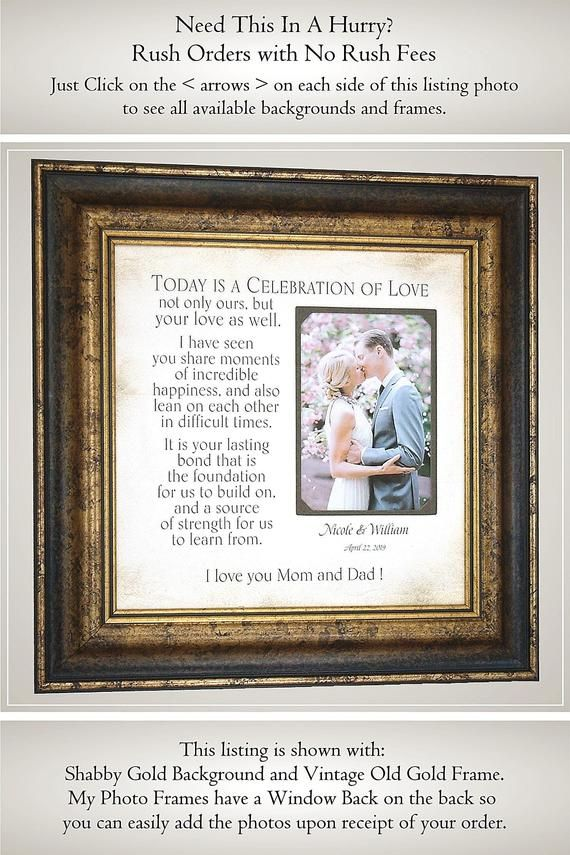 Parents Thank You Wedding Gift Parents Of The Bride Gift Today Is A Celebration Wedding Gift For Mom And Dad Wedding Gifts For Groom Framed Wedding Photos Personalized Wedding Frames