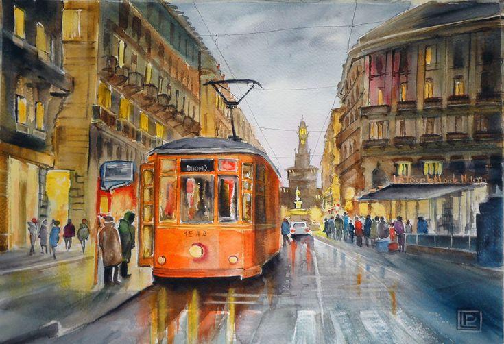 """""""Via Dante, Milano """" acquerello di Lorenza Pasquali N.D. 35x51 www.lorenzapasquali.it  Copyright © Lorenza Pasquali"""