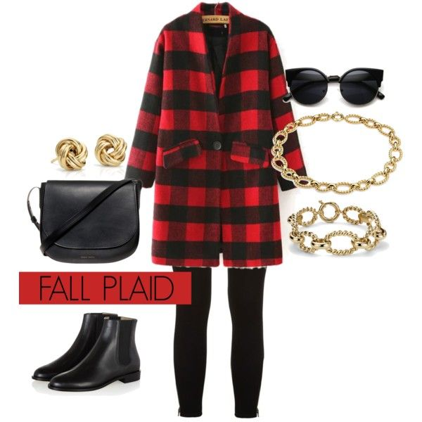 Fall Plaid by bluenile on Polyvore featuring Paige Denim, Hobbs, Mansur Gavriel, Blue Nile, Fall, gold and plaid: