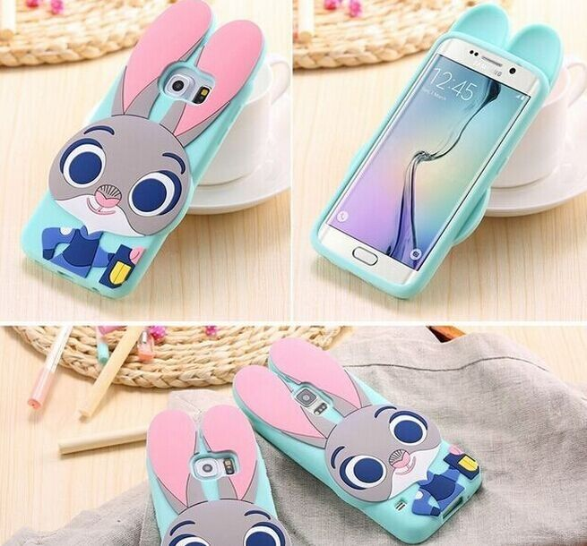 Cartoon Samsung Galaxy S5 S6 S7 Edge Case Cute Animals Rabbit for Samsung Galaxy S6 S7 Edge Bunny Cases
