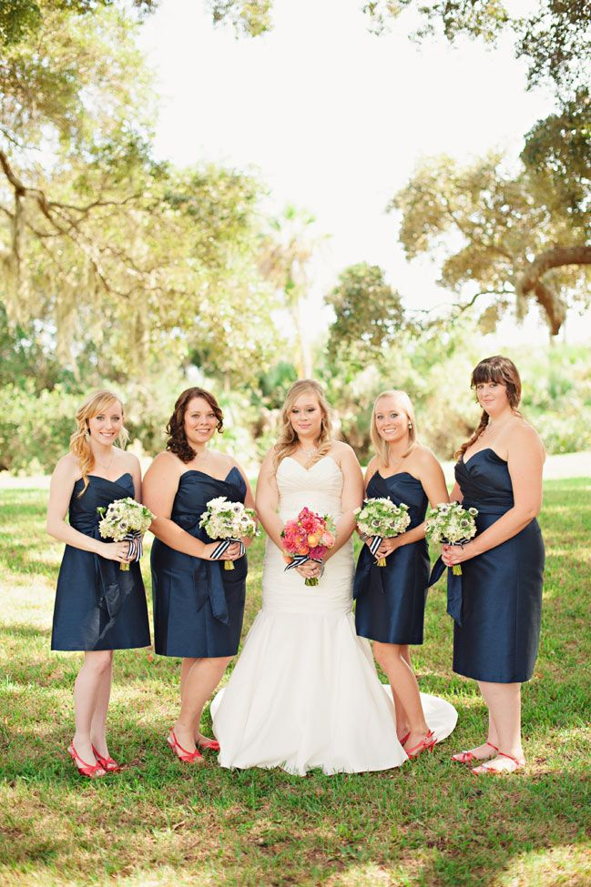 Coral & Navy Vintage Inspired Nautical Wedding At The Ribault Club Jacksonville Florida | Photograph by Britney Kay Photography   http://storyboardwedding.com/vintage-nautical-wedding-ribault-club-jacksonville-florida