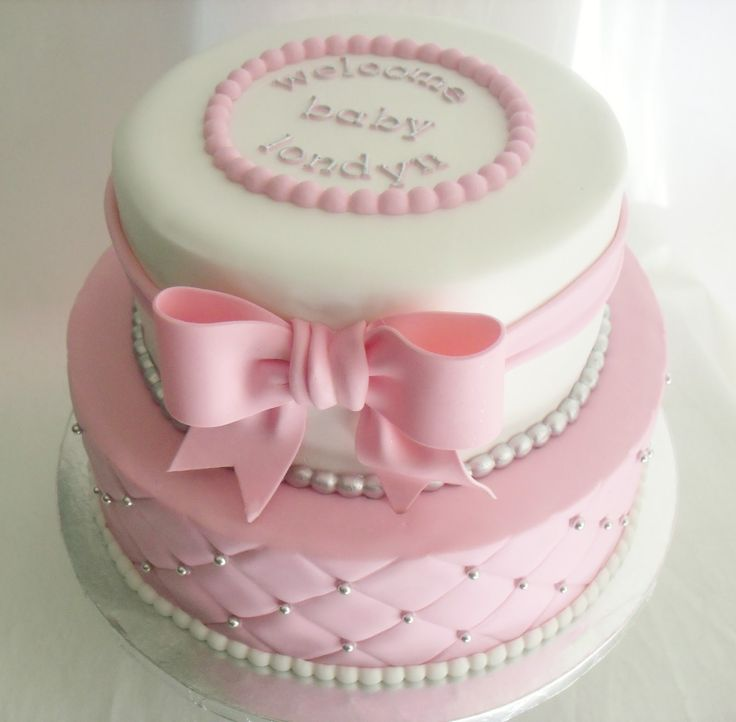 Pink And Silver Baby Shower Cakes | Made FRESH Daily: Quilted Pink And  White Baby