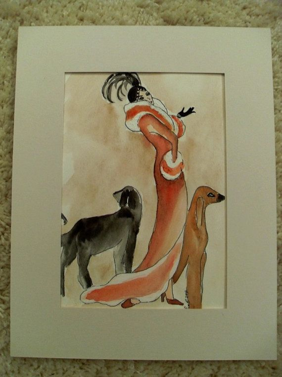 vintage lady walking her dogs art deco original acrylic painting elegant women scenic 1920s. Black Bedroom Furniture Sets. Home Design Ideas