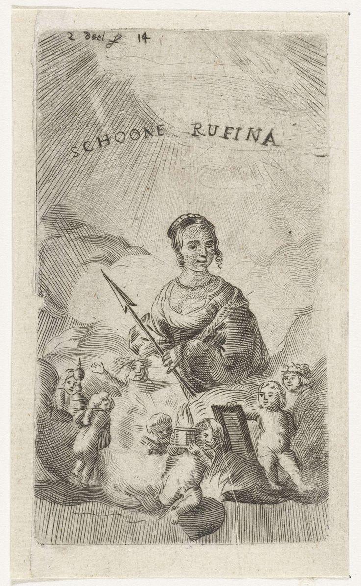 Samuel van Hoogstraten   Schone Rufina, Samuel van Hoogstraten, 1648 - 1669   Prent uit een serie van zeven die ook gediend hebben als boekillustraties. Een vrouw met speer zittend in de wolken, omringd door putti.