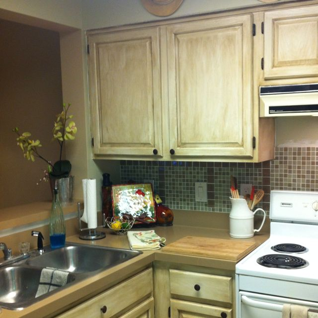 Cheap Kitchen Update Re Painted Countertops And Cabinets Hardware Added Rustoleum