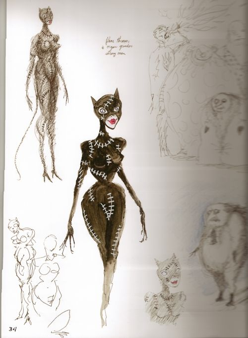 Tim Burton's early concept drawings for Catwoman and Penguin
