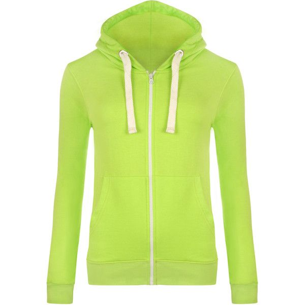 WearAll Basic Zip Up Hoodie Top ($9.02) ❤ liked on Polyvore featuring tops, hoodies, fluorescent yellow, long sleeve hoodie, hooded zip up sweatshirt, green zip up hoodie, green hoodie and zip up hoodies