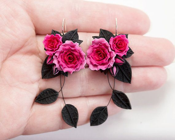 black rose necklace set black flower necklace black rose earrings summer jewellery rose necklace flower earrings gardeners gift mothers day