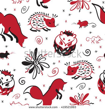 Vector seamless pattern of hand drawn animals and birds in traditional russian folk style. Mezen painting.  - stock vector