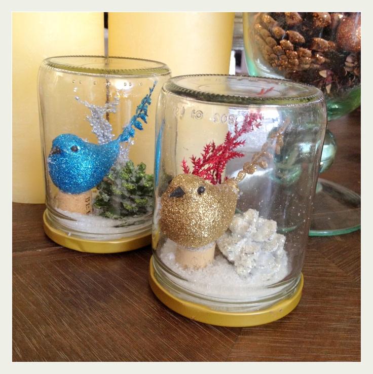Mason jar snow globe with bird Christmas decoration. $9.95, via Etsy.